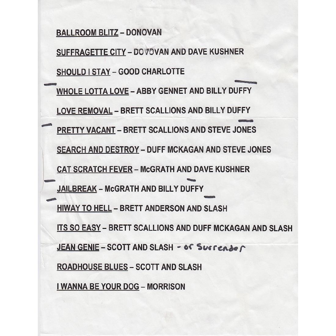 Guns N' Roses - Camp Freddy - 2005 Setlist
