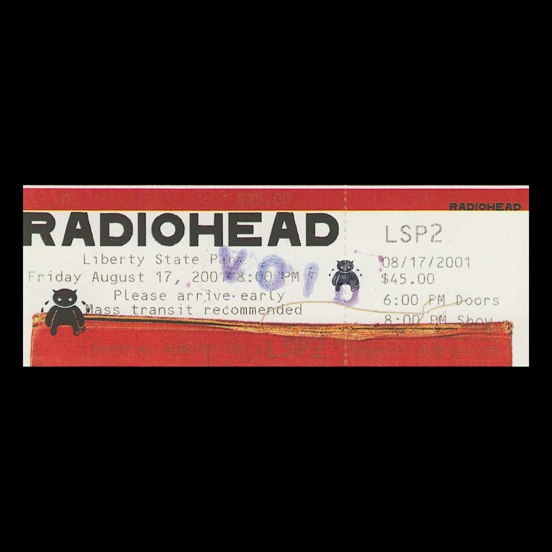 Radiohead - 2001 Vintage Concert Ticket