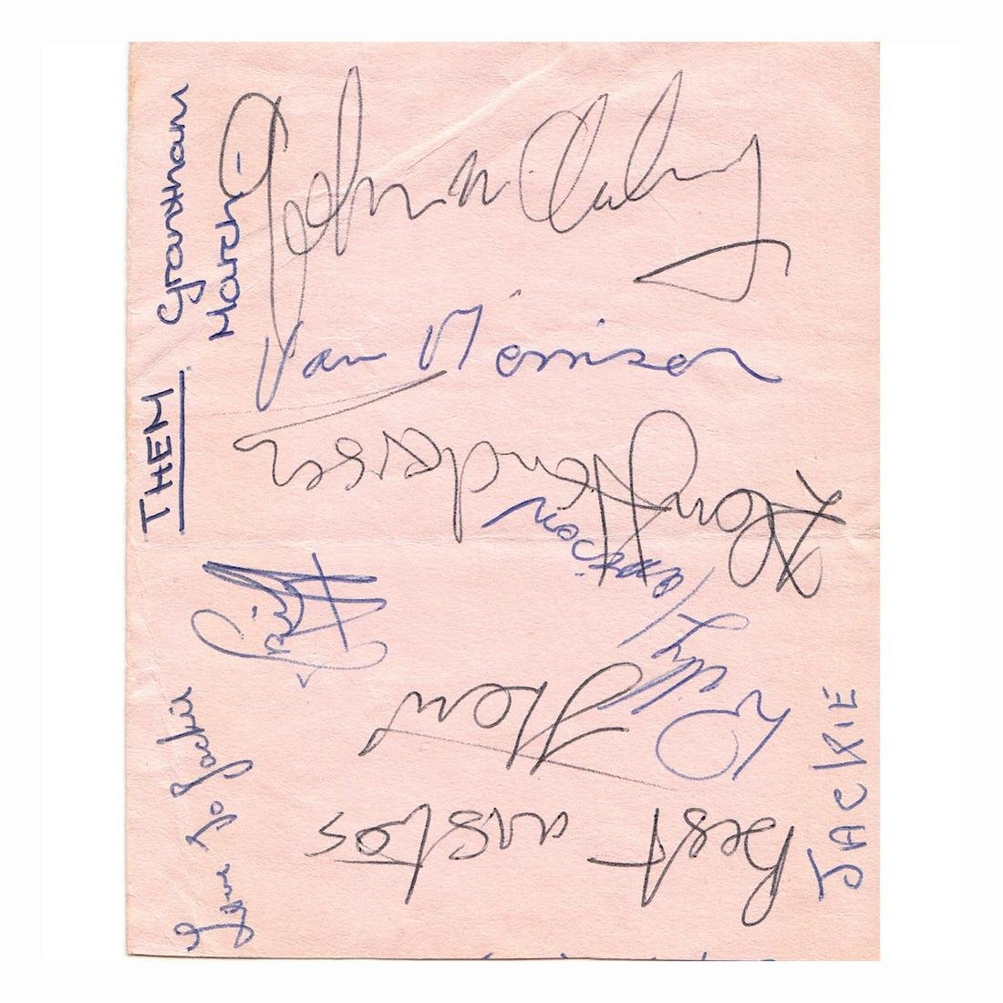 Van Morrison and his band Them - Autograph