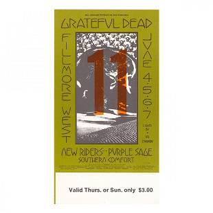 Grateful Dead Fillmore 1970 Vintage Concert Ticket