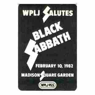Black Sabbath 1982 Backstage Pass