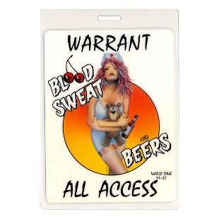 Warrant - 1991 Laminated Backstage Pass