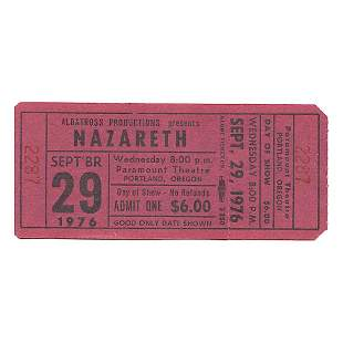 Nazareth - 1981 Vintage Concert Ticket