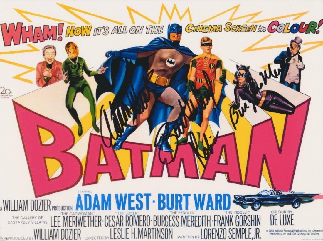 Adam West, Burt Ward & Burgess Meredith Autograph