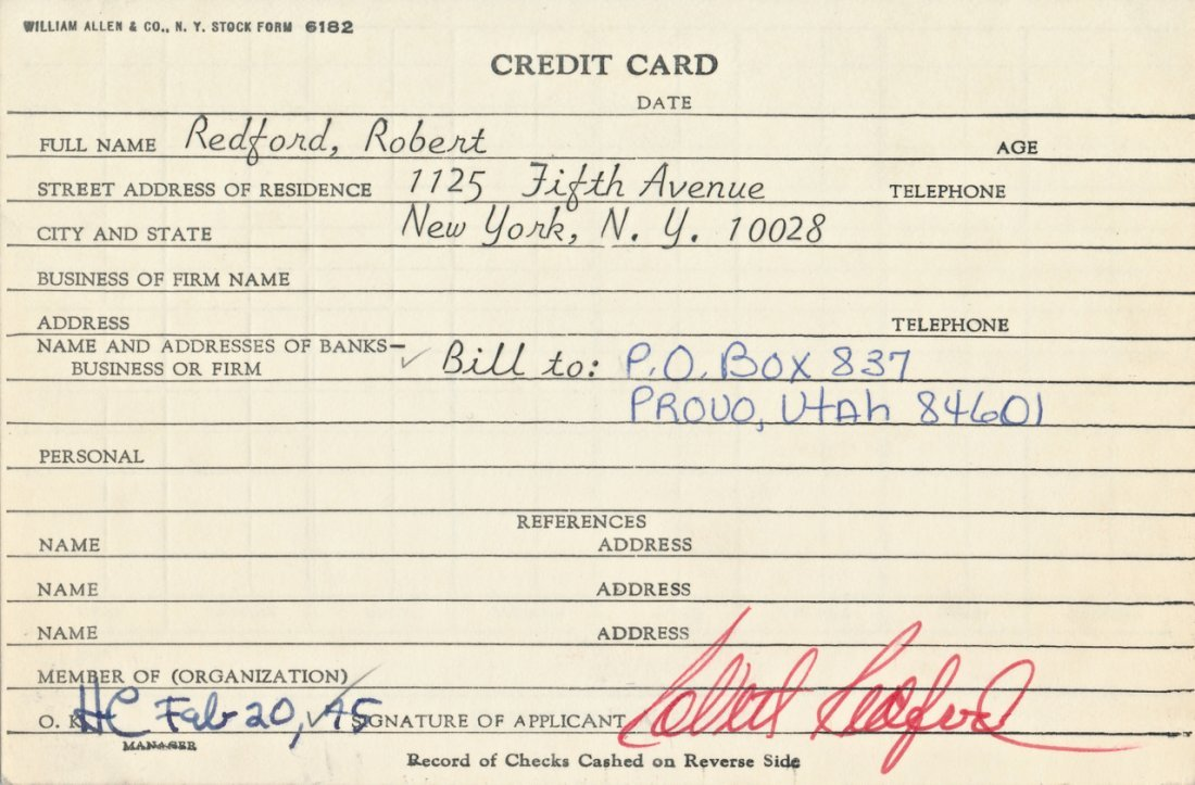 Robert Redford Hand Signed Bank Signature Card