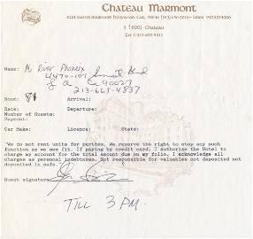 River Phoenix Signed Chateau Marmont Hotel Registration