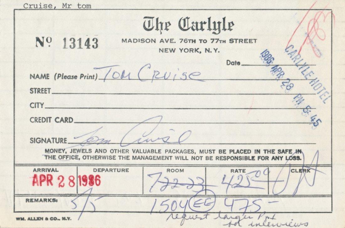 Tom Cruise Hand Signed Registration Hotel Card