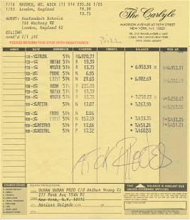 Duran Duran Nick Rhodes Signed Hotel Registration Folio