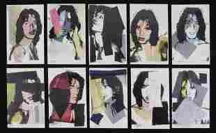 Warhol/Jagger Original 1975 Numbered Postcard Suite