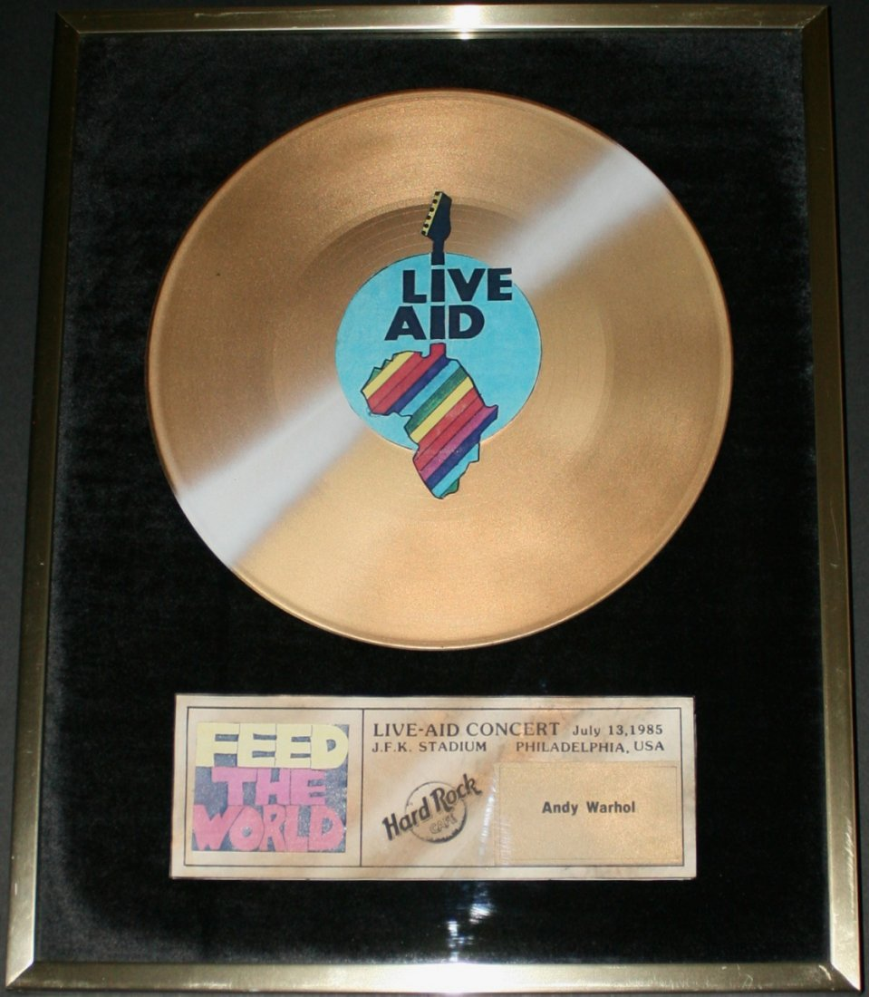 """Andy Warhol 1985 """"Live Aid"""" Special Record Award"""