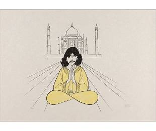 """Al Hirschfeld """"George Harrison Taj Mahal"""" Print"""