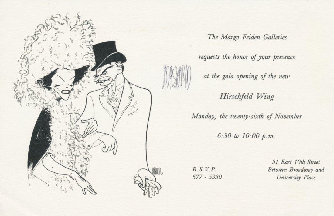 Al Hirschfeld Signed Gallery Invitation