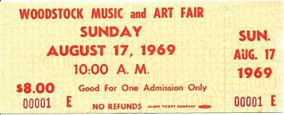 Woodstock Original $8.00 Ticket Numbered #00001