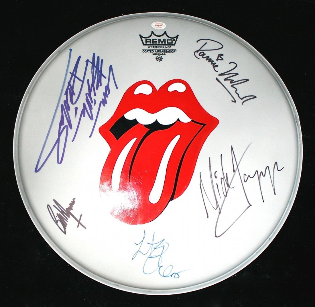 The Rolling Stones Autographed Drum Skin