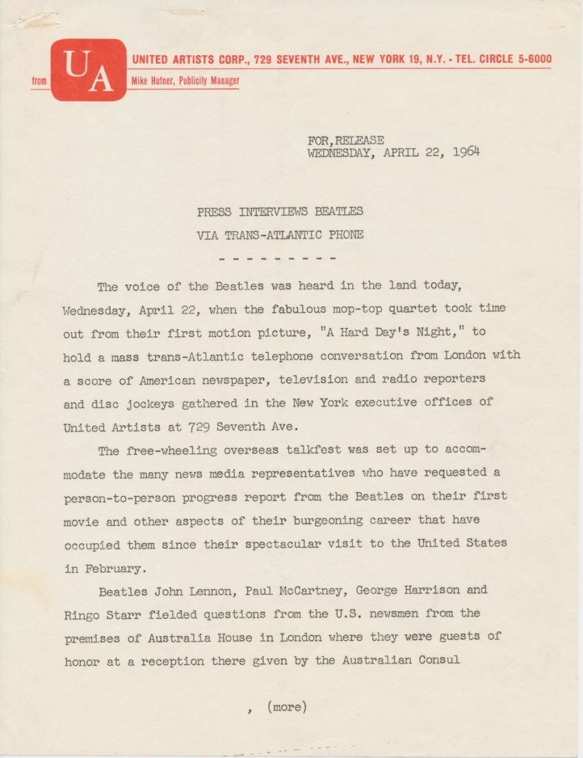 The Beatles Original 1964 United Artists Press Release