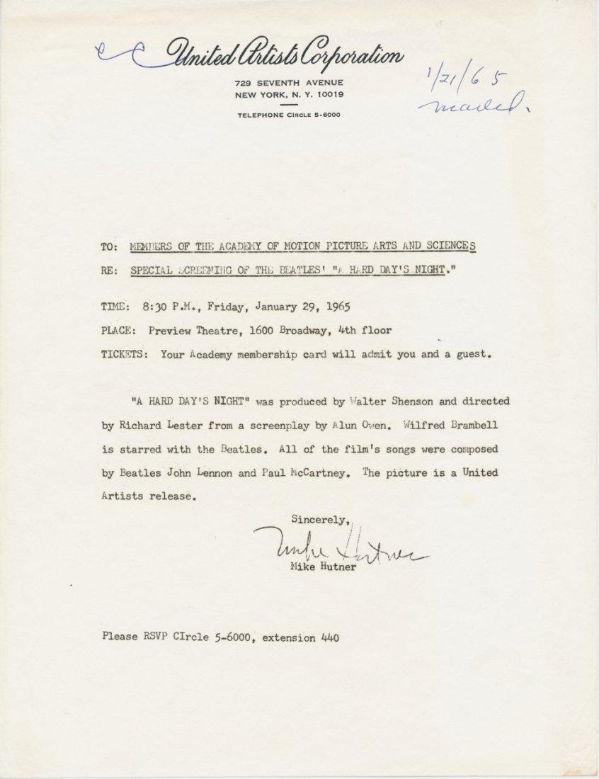 "The Beatles Original ""Hard Day's Night"" Press Release"
