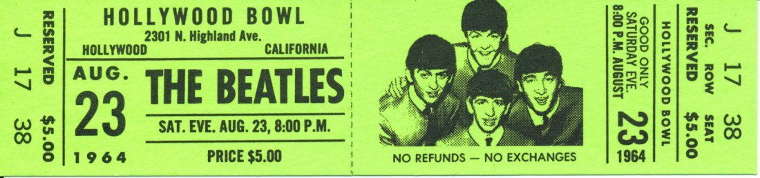 """The Beatles """"Hollywood Bowl"""" LP Promotional Tickets"""