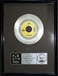 "The Beatles ""Rain"" Official RIAA Platinum Record Award"