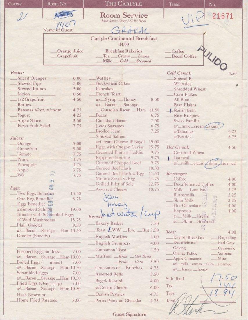 Ringo Starr Signed 1992 Hotel Room Service Receipt