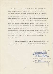 Paul McCartney Signed 1973 'Live and Let Die' Contract