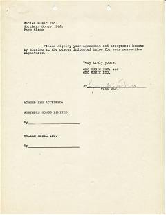 Yoko Ono Signed Lawyer Document