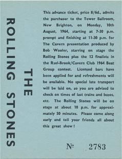 The Rolling Stones 1964 Tower Ballroom Concert Ticket