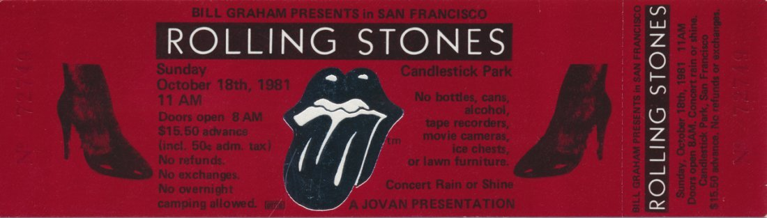 The Rolling Stones Unused 1981 Candlestick Park Ticket