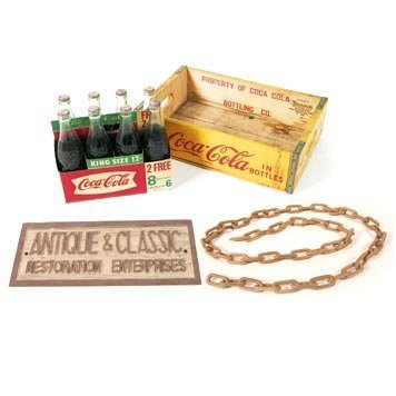 107: 107-Coca-Cola Collectables and Wooden Chain