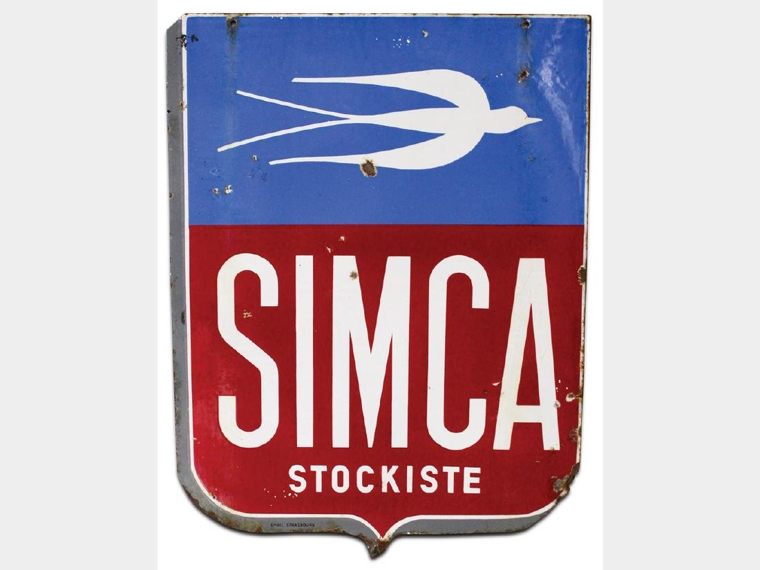 Simca-Fiat Porcelain Sign, French