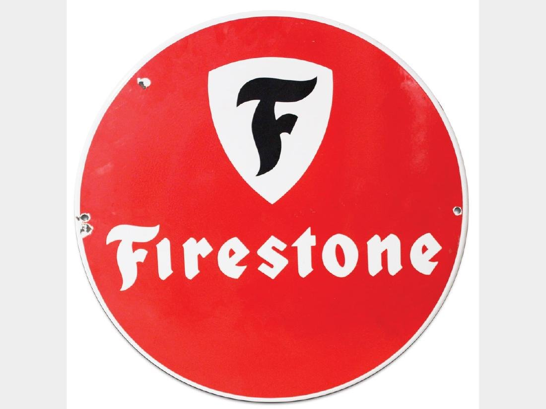 Firestone Porcelain Sign, German