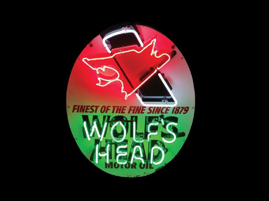 Wolf's Head Motor Oil Original Neon Tin Sign