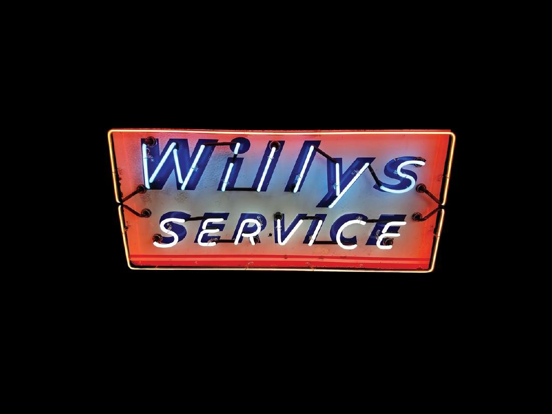 Willys Service Original Porcelain Neon Sign