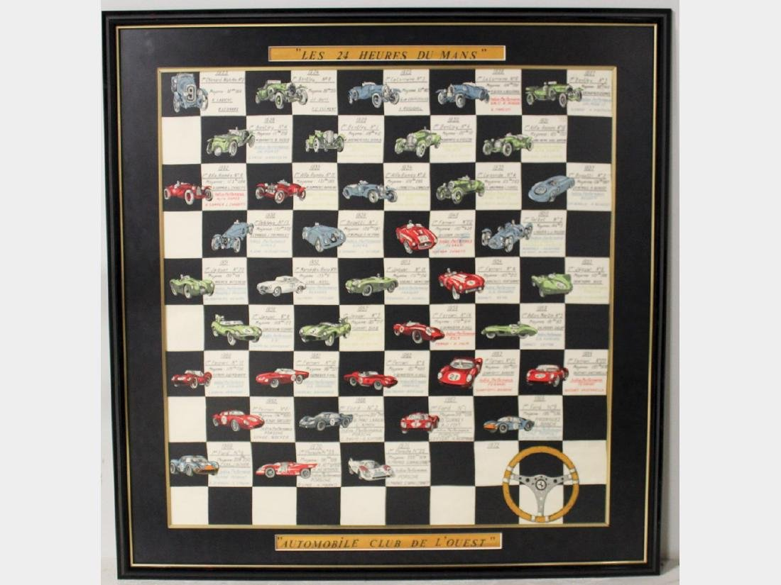 Les 24 Heures du Mans Framed Silk Scarf, circa 1972