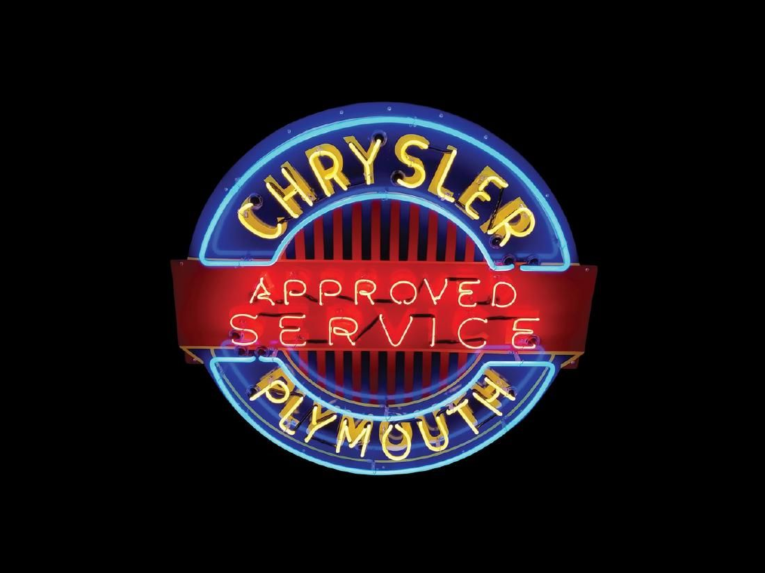 Chrysler-Plymouth Approved Service Original Porcelain Neon Sign