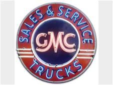 GMC Trucks Sales & Service Original Porcelain Neon Sign