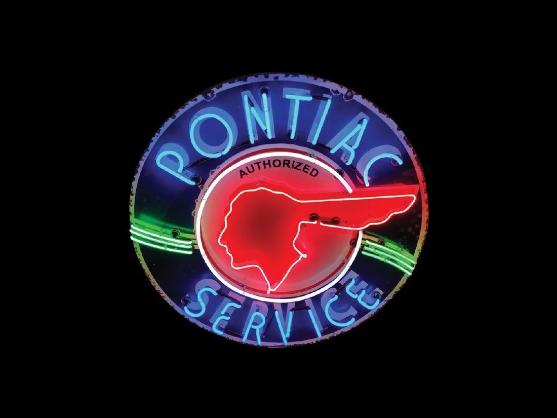 Pontiac Service Original Porcelain Neon Sign