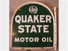 Quaker State Double-Sided 'Tombstone' Tin Sign with Bracket