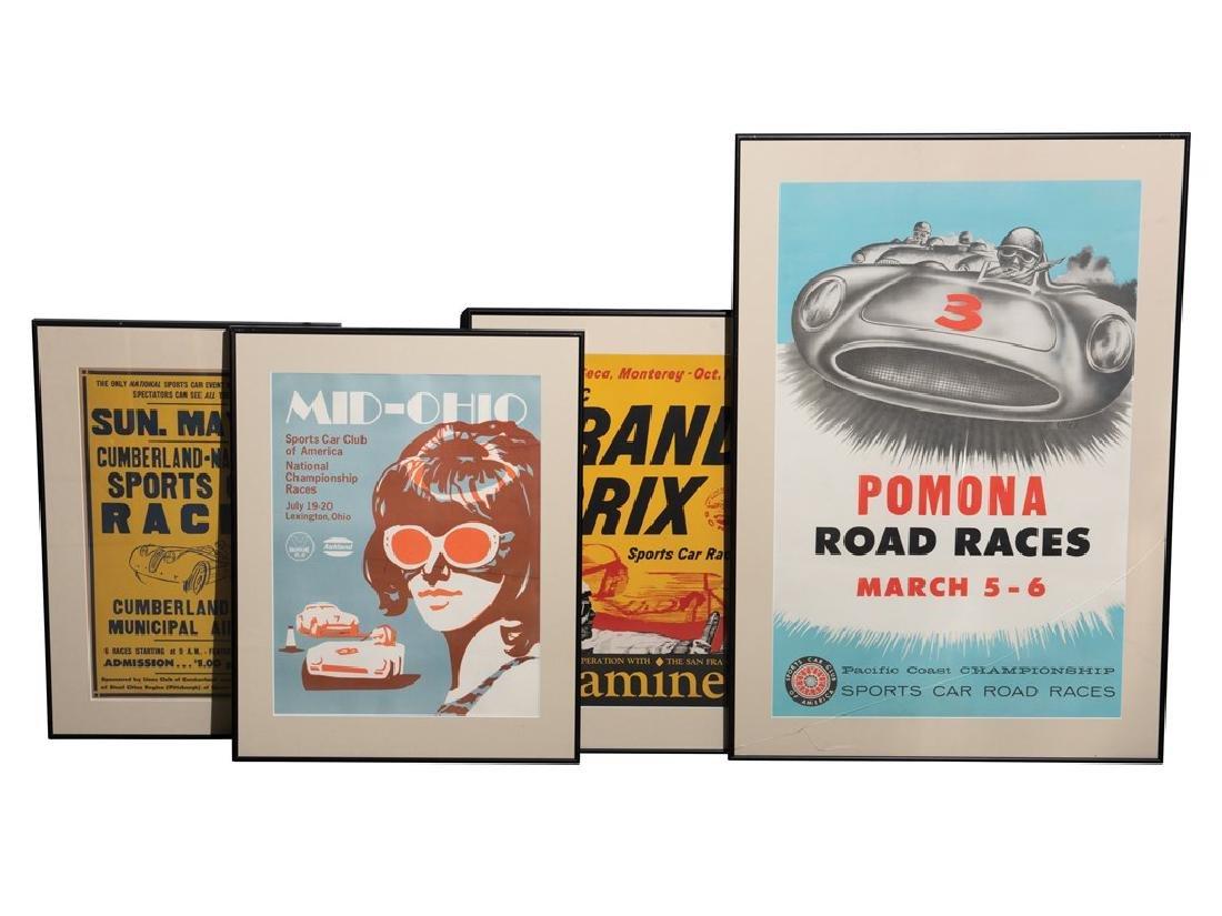 Vintage Racing Posters, Framed