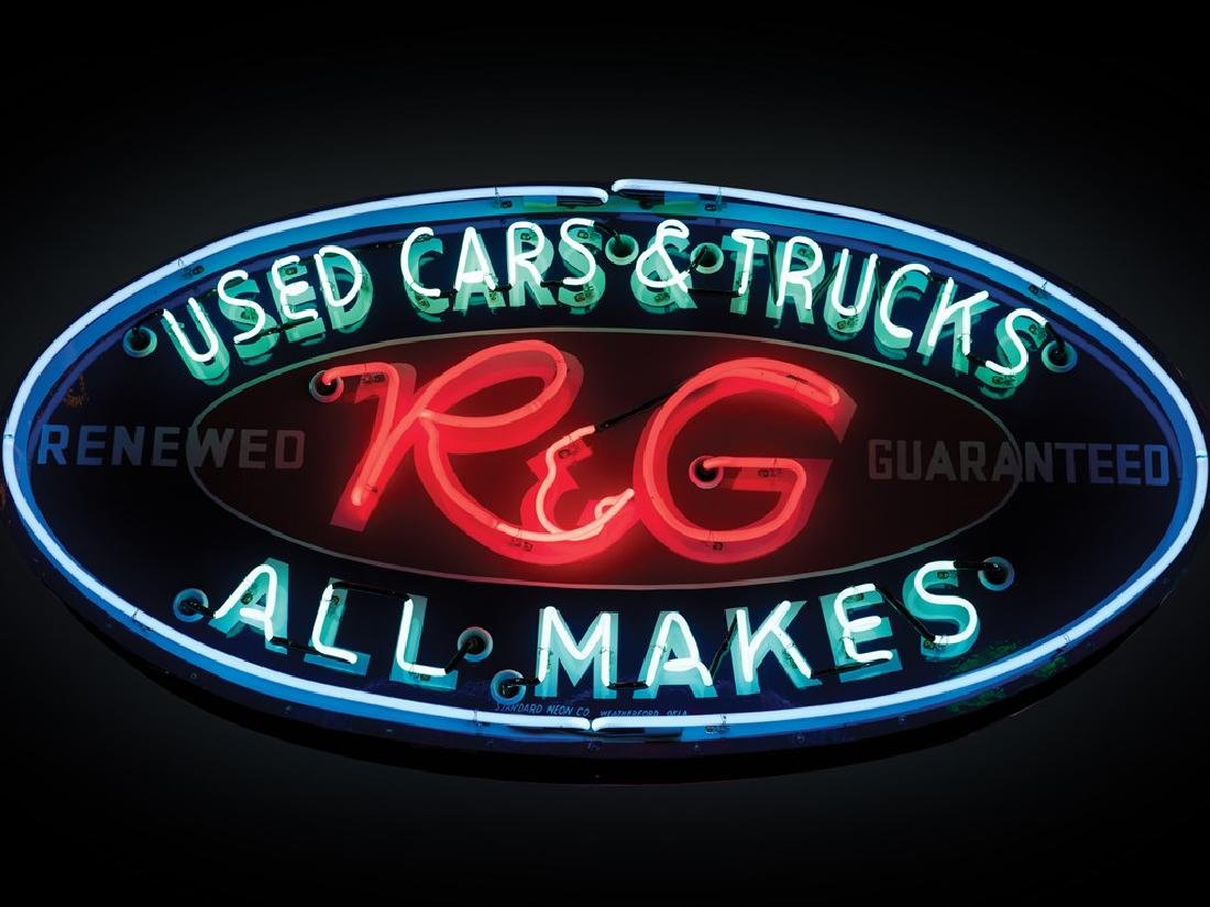 R&G Used Cars & Trucks Double-Sided Neon Sign