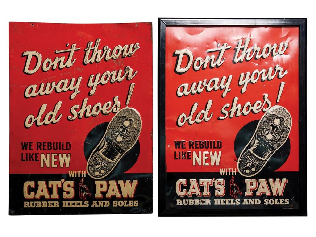 Cat's Paw Embossed Tin Signs