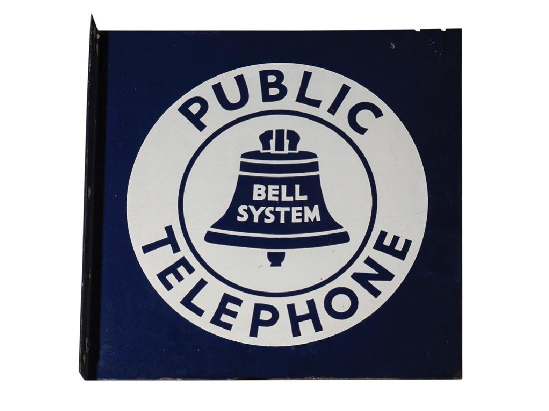 Bell System Public Telephone Double-Sided Flange Sign