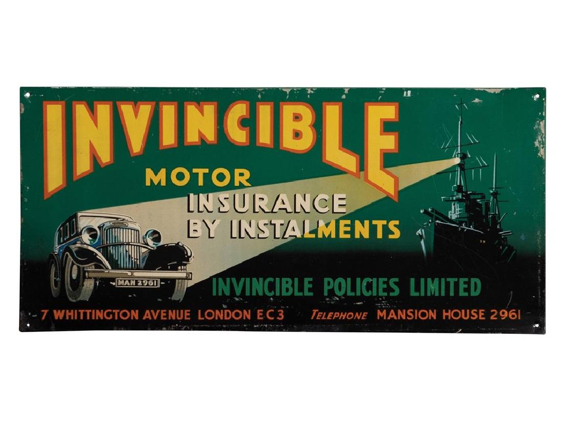 Invincible Motor Insurance Tin Sign