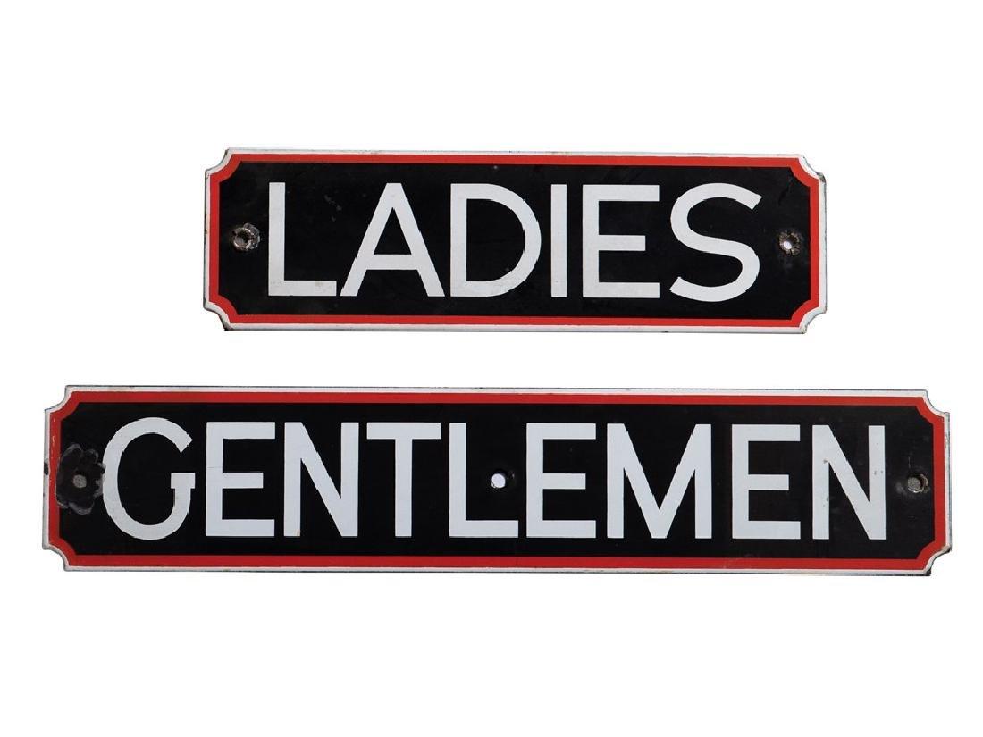 Ladies and Gentlemen Porcelain Restroom Signs