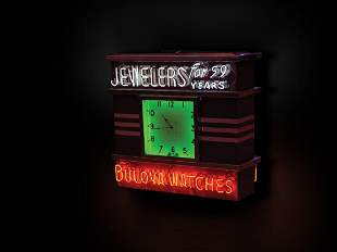 Jewelers, Bulova Watches Three-Sided Neon Sign and Clock