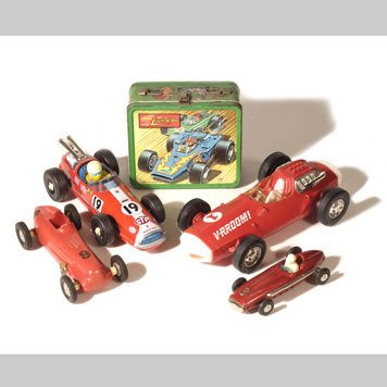 1006- TOY INDY RACE CARS AND LUNCH BOX