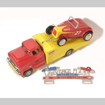 1020- BUDDY L CAR HAULER AND HOT ROD