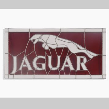 1097- WOODEN JAGUAR PLAQUE AND STAINED GLASS PANEL