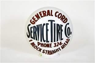 General Cord Service Tire Co. Gas Pump Globe
