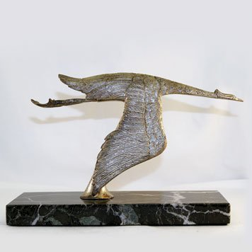 106: Stork in flight, English, bronze silver plated, C.