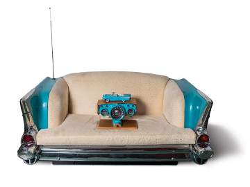 Chevrolet Bel Air Couch and Decorative Gauge Cluster